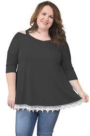 blouse plus size black cold shoulder lacy hem plus size blouse sophees
