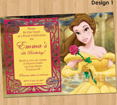 1st birthday princess invitation princess belle invitation beauty and the beast party