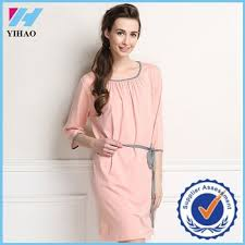 ladies show solid long sleeve cotton night dress nightgown