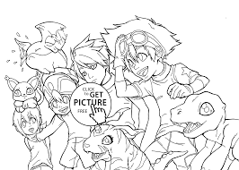 digimon anime coloring pages for kids printable free coloing