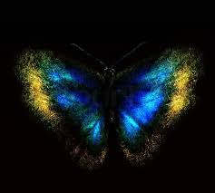 blue abstract butterfly on a black background stock photo