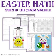easter math coloring worksheets bundle printables u0026 worksheets
