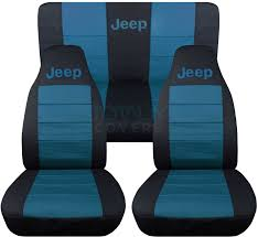 turquoise jeep jeep wrangler yj tj jk 1987 2017 2 tone seat covers w logo front