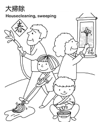 chinese new year coloring pages cleaning the house new year