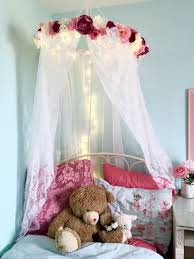 girls bed crown pink and blue u0027s room with canopy and tree mural tiny shabby