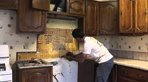 How To Install A Mosaic Tile Backsplash In The Kitchen by How To Install Granite Countertops On A Budget Part 1 Removing