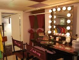 vintage silver pine wood bedroom vanity with mirror and lights of