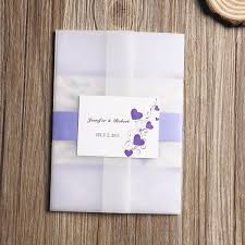 wedding invitation set affordable lavender purple hearts printed pocket wedding