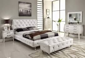 White Bedroom Dresser And Nightstand Bedroom Set Modern Upholstery Faux Leather Headboard Wooden 2