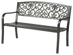 Steel Outdoor Bench Steel Garden Bench Traditional Outdoor Benches By Trademark