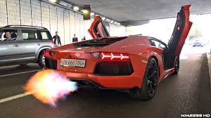lamborghini aventador lamborghini aventador with straight pipe exhaust huge flames