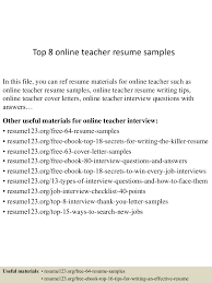 teacher objectives for resumes top8onlineteacherresumesamples 150528142820 lva1 app6891 thumbnail 4 jpg cb 1432823801