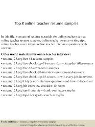 Resume Samples Online Free by Top8onlineteacherresumesamples 150528142820 Lva1 App6891 Thumbnail 4 Jpg Cb U003d1432823801