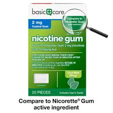com basic care nicotine gum 2 mg stop smoking aid cool mint 20 count health personal care