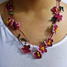 leaf pattern necklace pink crochet necklace flower and leaf from sesimtaki on etsy