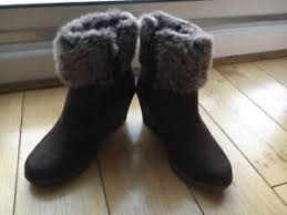 womens boots tu tu brown wedge ankle boots fur cuff size 3 36 boots