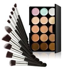 15 colors contour cream makeup concealer palette 10 pieces brush
