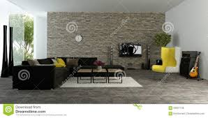 Modern Comfortable Couch Large Modern Living Room With Textured Accent Wall Stock Photo