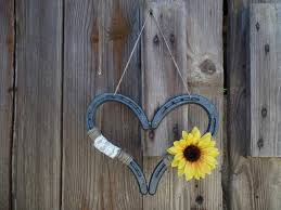 heart shaped horseshoes rustic sunflower wedding horseshoe heart decor shoe decor