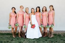 coral bridesmaid dresses with cowboy boots dress images