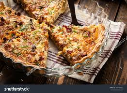 cuisine quiche lorraine pieces quiche lorraine bacon cheese stock photo 788196829