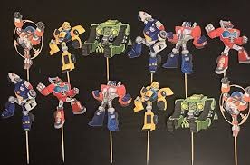 transformers rescue bots party supplies transformer cupcake toppers transformer inspired