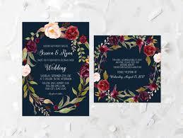 burgundy floral wedding invitation suite printable pink and navy