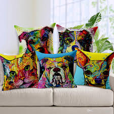 11 styles colorful oil painting dogs cushions covers chihuahua
