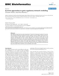 current approaches to gene regulatory network modeling pdf