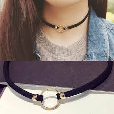 black collar necklace fashion images New fashion suede velvet choker necklace black cord gold color jpg