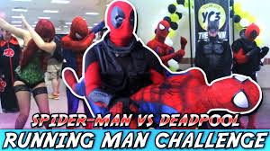 Comic Con Meme - spider man vs deadpool running man challenge meme yellow city