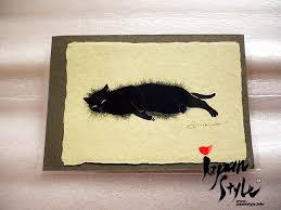 japanese washi paper greeting card cat japan style