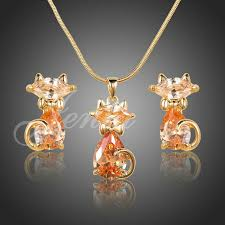 gold cat pendant necklace images Wholesale new 18k real gold plated aaa swiss zircon stone lovely jpg