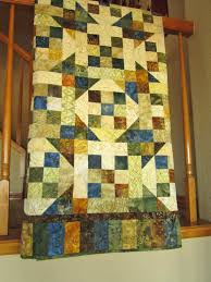 home decor handmade crafts patchwork quilt homemade blue green brown and gold lap quilt home