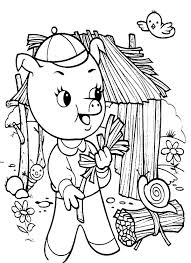 three little pigs collecting fire wood coloring pages batch coloring