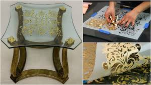 glass furniture how to stencil tutorial verre eglomise gilding on glass furniture