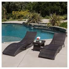 acapulco 3pc wicker folding chaise lounge set multibrown