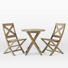 Folding Bistro Table And 2 Chairs Jardine Folding Bistro Dining Set Table 2 Chairs West Elm