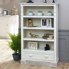 storage bookcase cream rustic tall bookcase with drawer storage