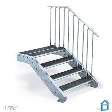 steinhaus treppen treppenaufgang mit 4 stahlstufen und langem wandanschluss