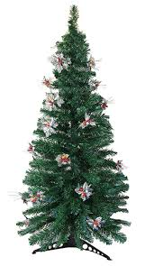 6 u0027 pre lit fiber optic artificial christmas tree with silver holly