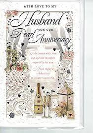 to my husband on our pearl wedding anniversary card co uk