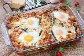 egg strata casserole caramelized onion and asparagus strata recipe