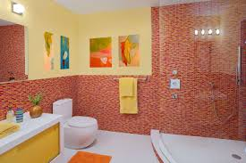 bathroom decor for kids with white wall ideas home bathroom best kids bathroom design with mosaic red ceramic wall