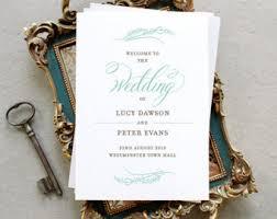 Wedding Program Printing Modern Printable Wedding Stationery For The Diy By Pennyblackpost