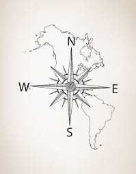 United States Map Wall Decal by Nautical Map Of North U0026 South America W Compass Vinyl Wall Decal