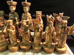 asian theme oversized chess set with figures ranging from 8