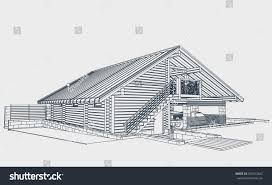 authors architectural project wooden building glued stock vector the author s architectural project of the wooden building from glued beams rafters roofs
