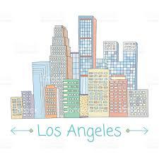 Skyscraper Floor Plan by Hand Drawn Vector Los Angeles Skyscraper City On White Background
