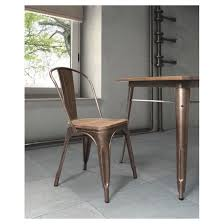 Wood And Metal Dining Chairs Industrial Style Metal And Rustic Wood Dining Chairs Set Of 2